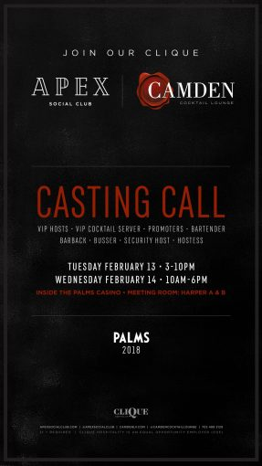 Join Our Clique – Casting Call For APEX And CAMDEN @ Palms Hotel (Las Vegas, NV)